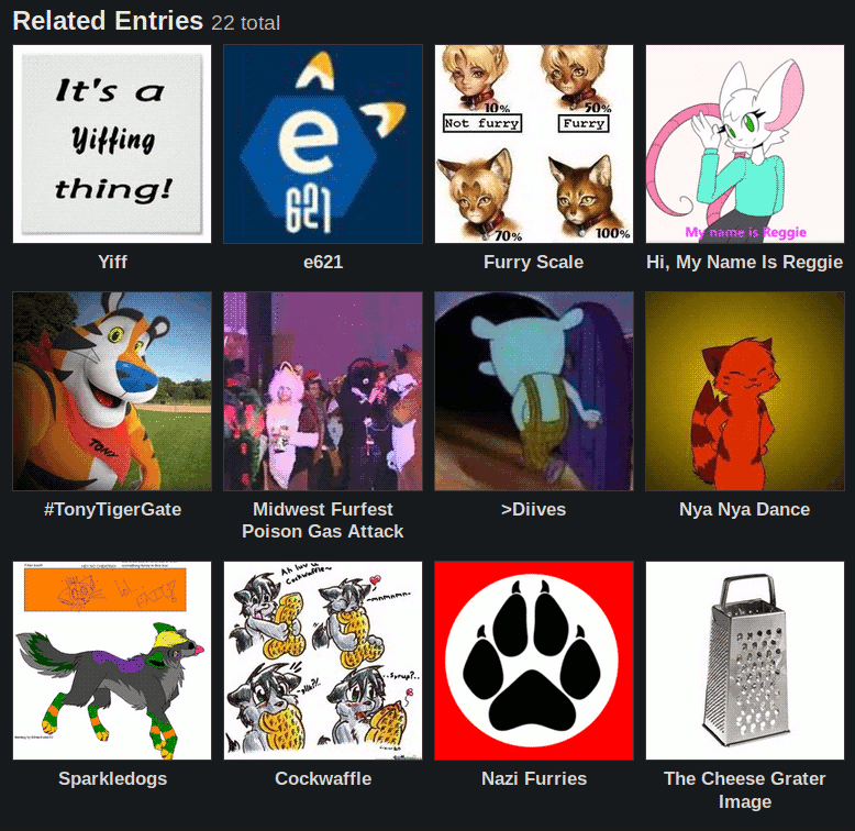 A picture of related articles on Know Your Meme about furries.